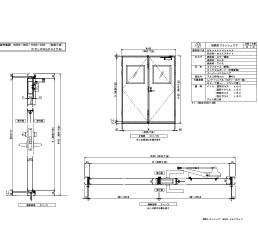 アルミ枠 両開きフラッシュ 四方・セミエアタイト レバーハンドル
