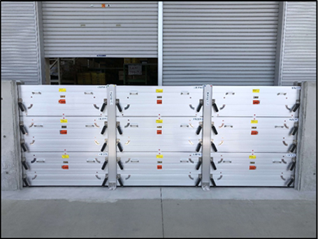コンクリート擁壁+軽量アルミ止水板 3連3段 H1500